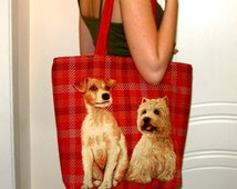 """Tote Bag """" Best Friends"""", Dogs Tote Bag, iPod Tote, Big Beach Bags, Tablet Red Hand Bag, Travel Bags, Great Gift for Birthday."""