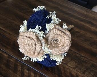 Mini Burlap Bouquet, Burlap Wedding Bouquets, Navy Bouquets, Burlap Bouquets, Burlap Bridal Bouquet, Rustic Bouquets, Bouquets, 1 Piece