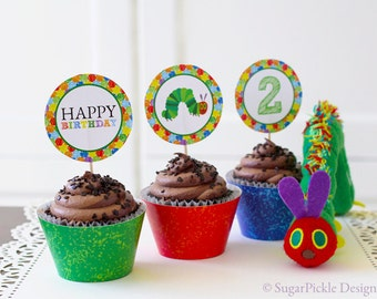 Hungry Caterpillar Cupcake Toppers, 2nd Birthday, Hungry Caterpillar birthday circles, Caterpillar Party Decorations - 2.25 inch