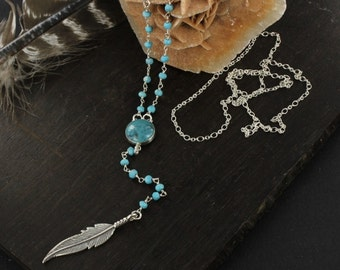 Feather necklace - Rosary - Turquoise necklace - Boho chic necklace - Handmade