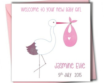 Personalised New Baby Girl Card ~ Congratulations baby Girl card.