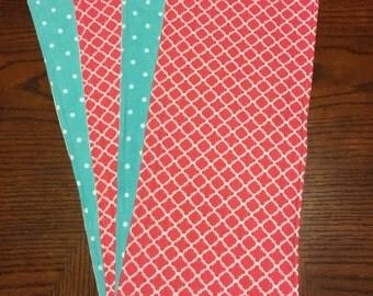 Aqua Polka Dot/Decorative Pink burp cloths set of 4