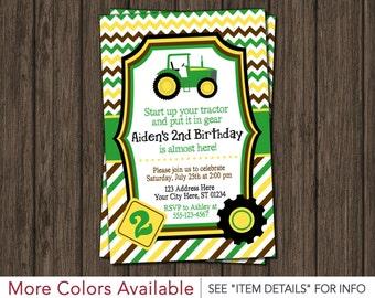 Tractor Birthday Invitation - Farm Birthday, First Birthday, Green and Yellow