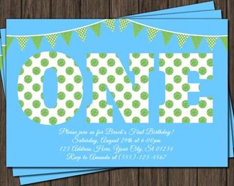 First Birthday Invitation - Blue and Green 1st Birthday Invitations