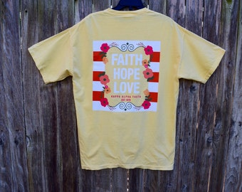 Kappa Alpha Theta Faith Hope Love Pocket T-Shirt