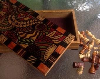 Upcycled chess board box, chess board, checker board, secret box
