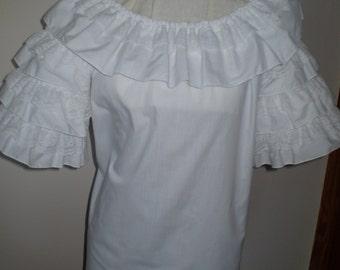 White rumba sleeve blouse