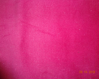 "Stretchy Corduroy Fabric by the Yard - Pink with Silver Metallic - Approx. 44"" wide"