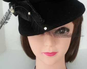 Vintage Glenover,Henry Pollak, New York Black Wool Hat, Feathers and Rhinestone Accent
