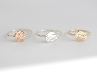 Hammered Circle - Choice of Medium or Large Circle in Solid Sterling Silver (92.5), 14K Gold or 14K Rose Gold