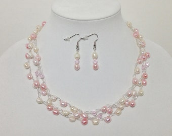 Necklace Earrings, Pink Blush, White, Cultured Pearl, Faceted Glass, Non-Tarnish Silver Plated Wire, Wire Crochet