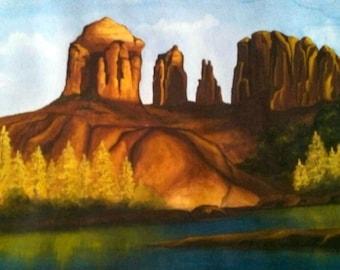 16x20 Original Watercolor Sedona Arizona Cathedral Rock. Desert Landscape, Southwest Decor Wall Hanging
