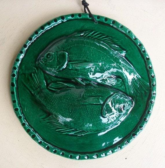 Ceramic Fish Tile -- YinYang Fish Art Tile in Lustre Green glaze, Pisces
