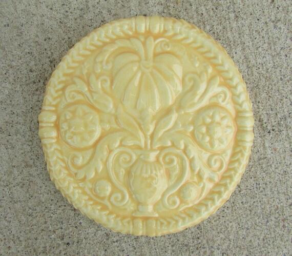 Ceramic ButterMold Art Tile -- Decorative tile in Squash Blossom glaze, antique Butter Mold