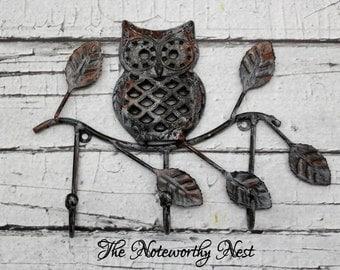 CHOOSE YOUR COLOR Owl Hook // Cast Iron Hook // Wall Hook // Towel Hook // Kitchen Hook // Garden Hook // Bathroom Hook //Bedroom Hook