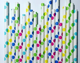 Confetti/Sprinkles paper straw pack, multipack of 25