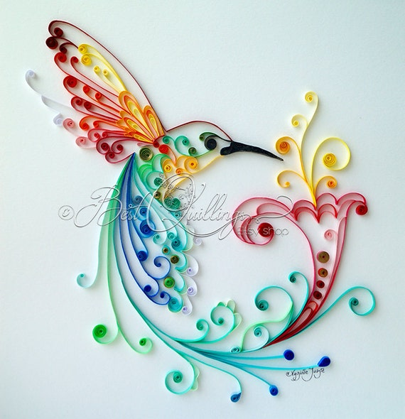 Original Quilling Art: Bird of Happiness Colourful