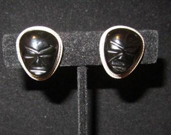 Vintage Sterling Silver carved Black Onyx face mask screw back earrings marked sterling