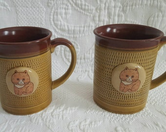 Vintage set of two stoneware CAT MUGS