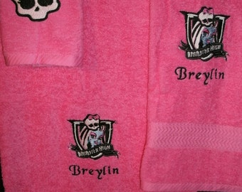 Monster High Frankie Personalized 3 piece Towel Set Bath, Hand, Washcloth Monster High ANY MONSTER