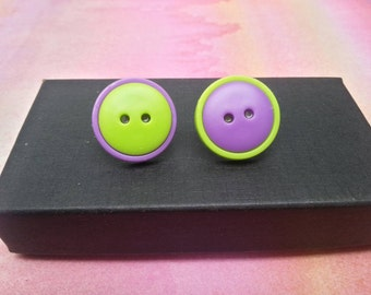 Cute as a Button Earrings - Mix not Match - Purple and Green