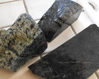 Jade Rough Rock,Cabbing Material, Green Speckled Stone, Lapidary Slabbing