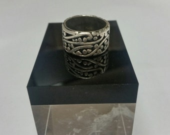 Mexican Sterling Silver Ring Texaco, Handmade, Aztec Size 7 1/2 or O