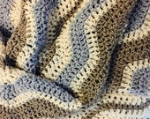 Elegant crochet ripple throw