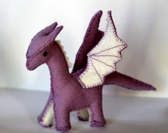 small lavender felt dragon