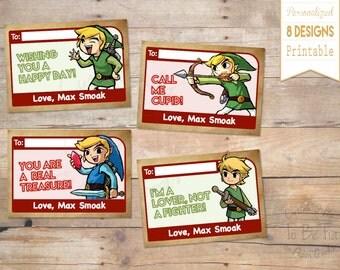 Legend of Zelda Valentine's Day Cards for Kids -Made-to-Order/Printable