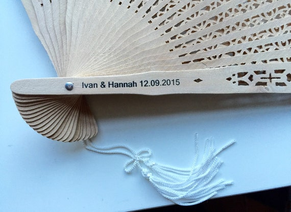 Personalized Sandalwood Fan Set Of 35 Wedding Favors By Bkadoremi