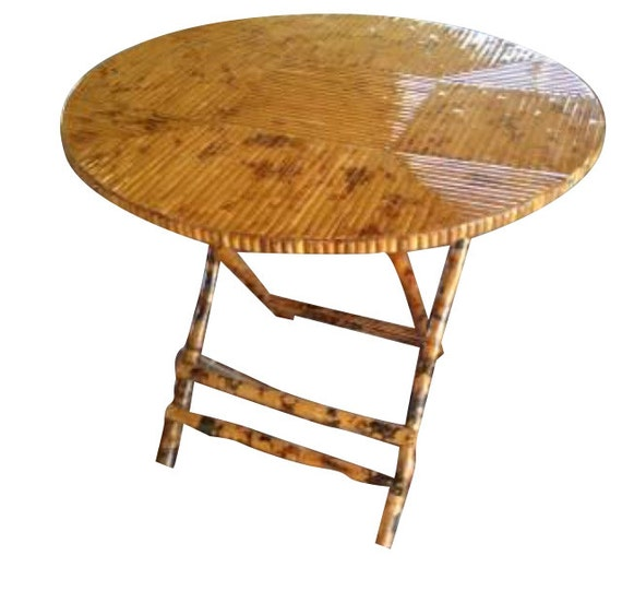 vintage bamboo folding dining table round by grabaseat on etsy