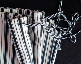 Black and white strip fabric bag
