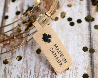Made in canada maple leaf price tag sticker label brown kraft paper