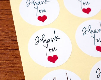 Thank you sticker with red heart white glossy paper sticker 60pcs
