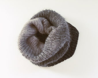 Grey Knit Cowl Scarf/ Knit Snood/Knit Cowl/ Winter Cowl/ Reversible Knit Cowl/ Ombre Cowl/  Cowl Scarf