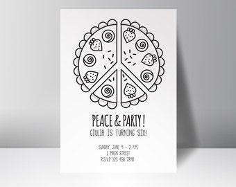 Peace and party!  Personalized birthday party invitation, kids party, flower power party, coloring, thank you card, instant download