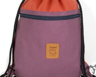 Canvas backpack two color drawstring bag Cotton bag Laptop bag Hip bag Handmade bag