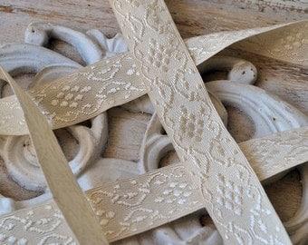 3.60 meters ivory vintage silk ribbon, 1900's