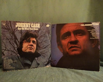Johnny Cash - Any Old Wind That Blows 1973 & Hello, I'm Johnny Cash  1970 ( Lot of 2 xLP, Album, Vinyl Record ) Country Music