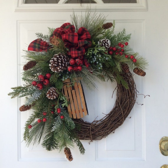 Holiday Wreath Winter Wreath Christmas Wreath Wooden Sleigh