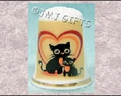 Sweet Mom and Baby Cat in Heart on Bone China Thimble