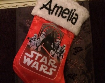 "Star Wars 18"" RED Satin Christmas Stocking Plush Cuff - Personalized"