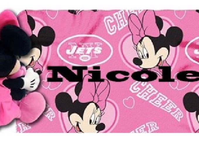 Football NY JETS Cheerleader Fleece Throw Blanket & Mouse Hugger - Personalized
