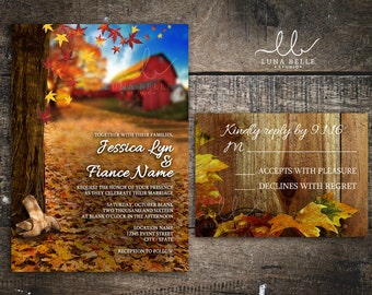 Rustic Fall Tree Barn Cowboy Boots Wedding Invitation Set Fall Leaves