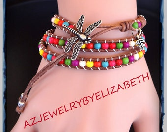 Handcrafted Turquoise And Leather Rainbow Wrap Bracelet, Multi Color Beaded Leather Wrap Bracelet.