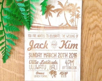 Wedding invitation, summer love design.  Laser Etched Wooden Invitation. A6 size