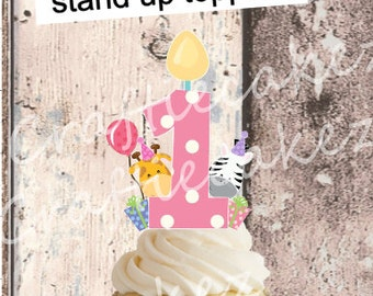 24 x Pre Cut Edible Girls Birthday Number s (1,2,3,4,5) Stand Up Cake Toppers