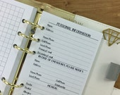 Personal Information printed planner insert refill - info page - in case of emergency numbers - medical - insurance - #231