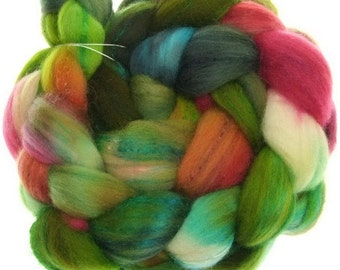 Polwarth Tussah No. 49 handyed roving combed top for spinning and felting #16176